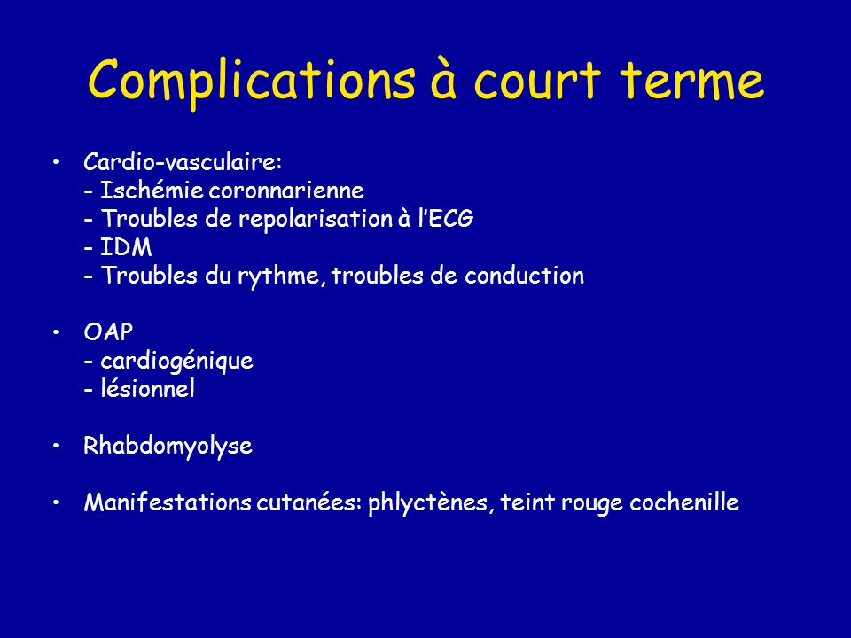 Complications à court terme