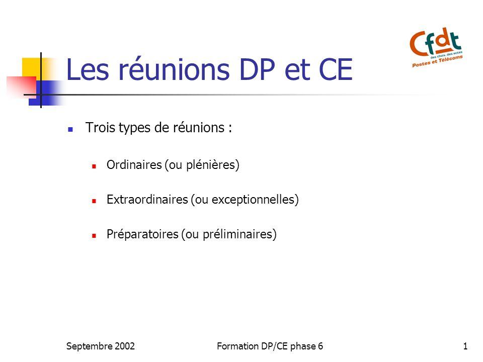 Les réunions DP et CE Trois types de réunions :