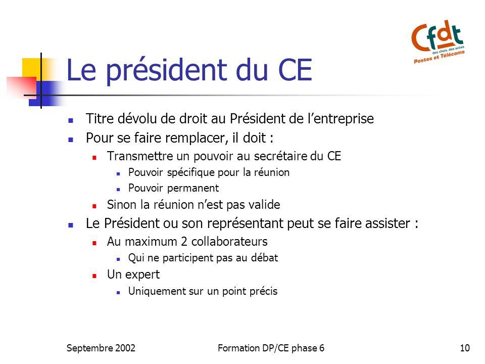 Le président du CE Titre dévolu de droit au Président de l'entreprise
