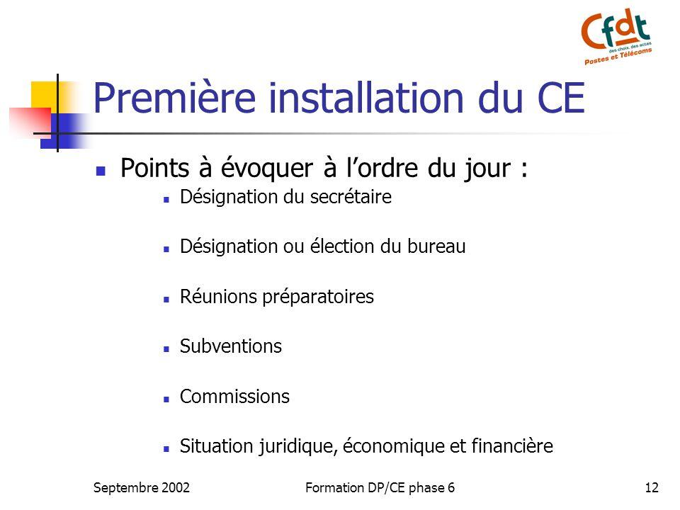 Première installation du CE