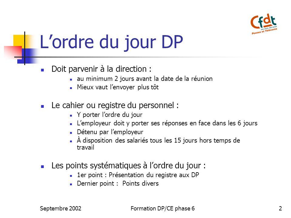 L'ordre du jour DP Doit parvenir à la direction :