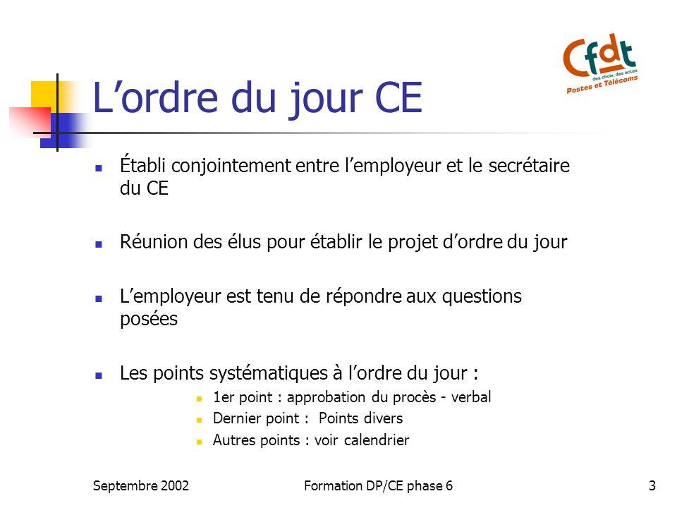 L'ordre du jour CE Établi conjointement entre l'employeur et le secrétaire du CE. Réunion des élus pour établir le projet d'ordre du jour.
