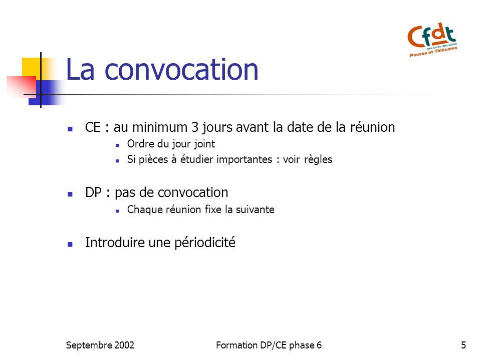 La convocation CE : au minimum 3 jours avant la date de la réunion