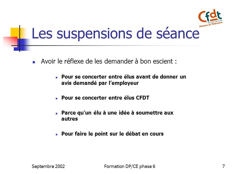 Les suspensions de séance