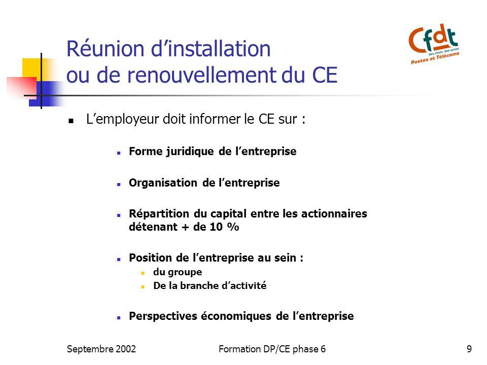 Réunion d'installation ou de renouvellement du CE