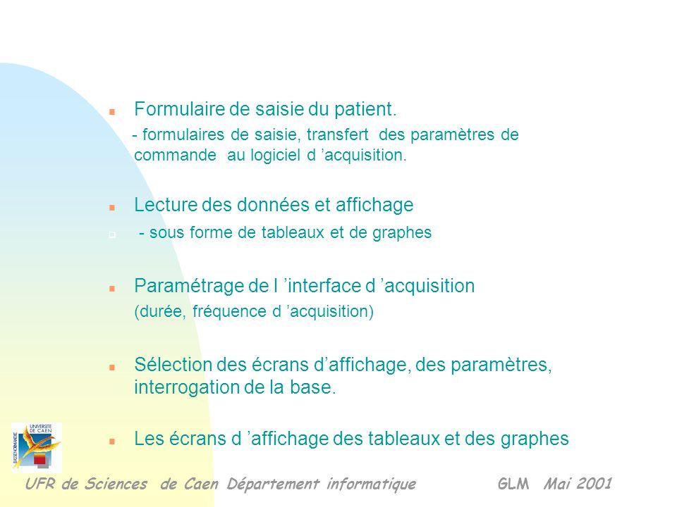 Formulaire de saisie du patient.