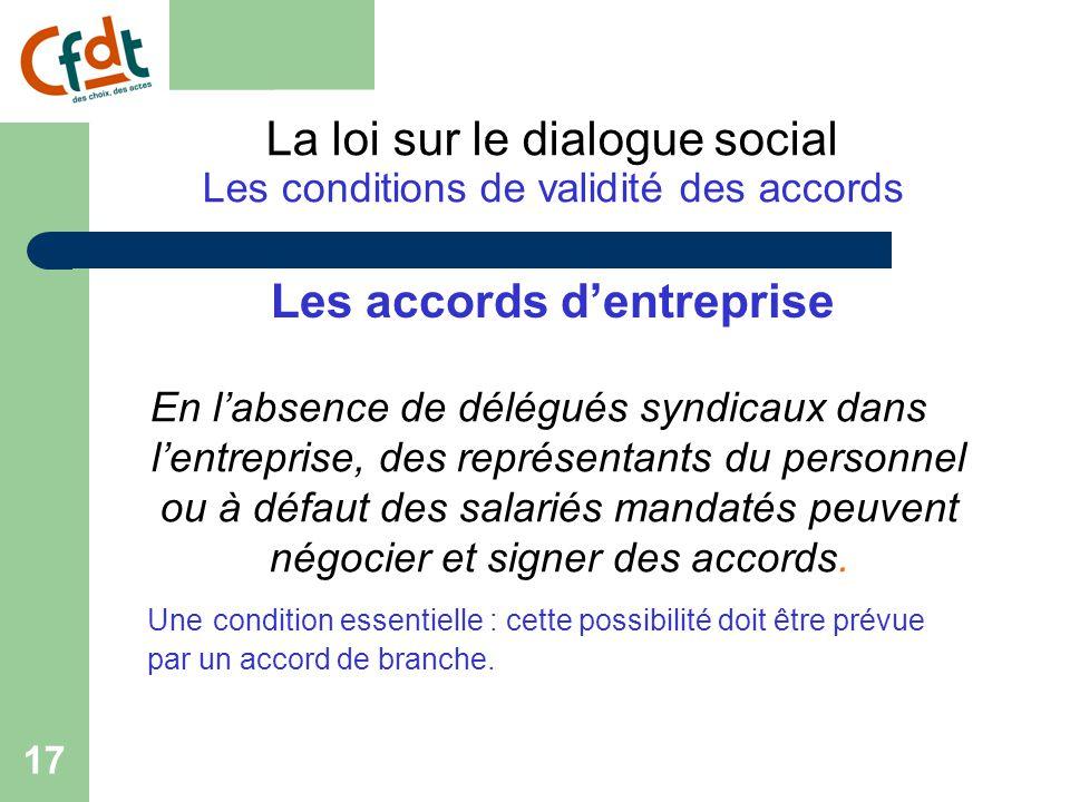 La loi sur le dialogue social Les conditions de validité des accords