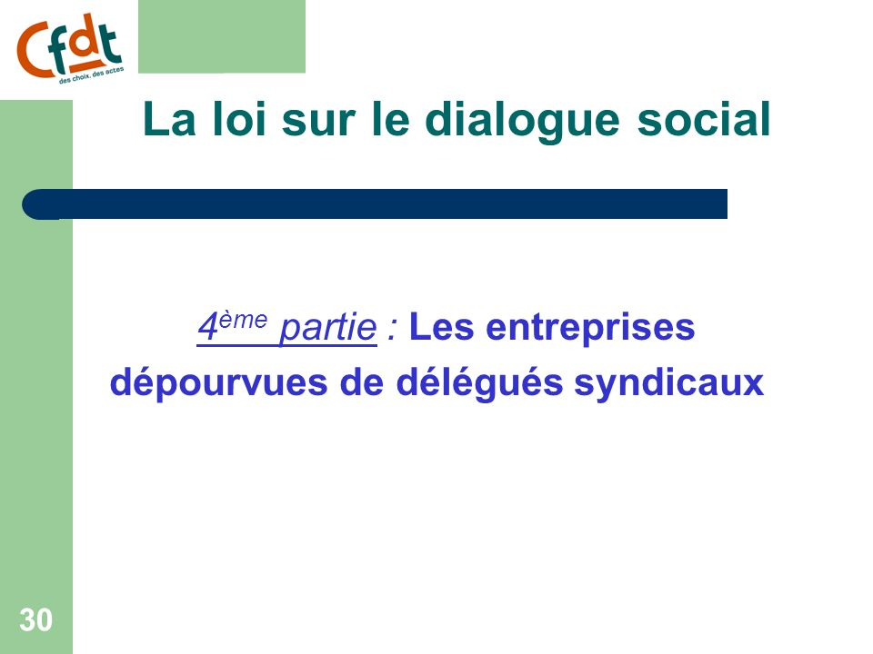 La loi sur le dialogue social