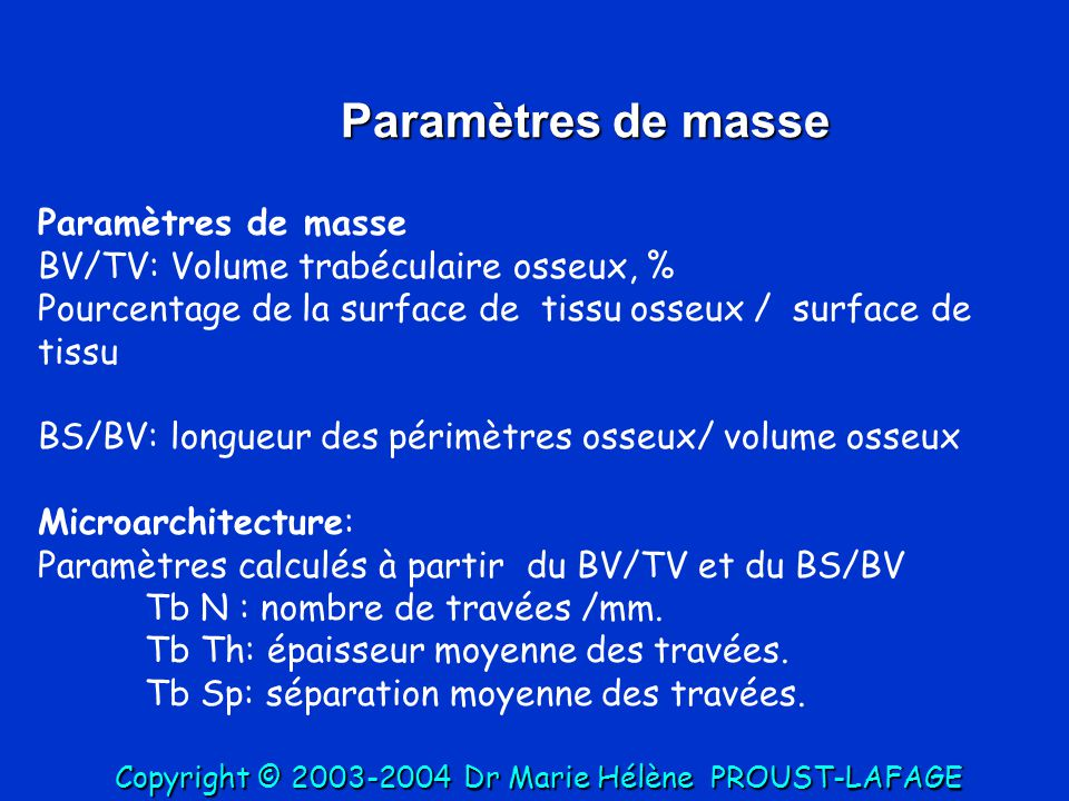 Paramètres de masse Paramètres de masse