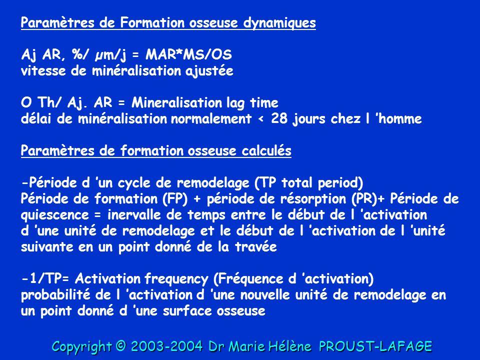 Paramètres de Formation osseuse dynamiques