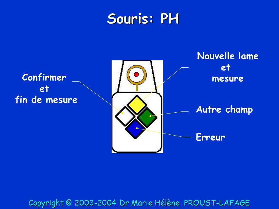 Souris: PH Nouvelle lame et mesure Confirmer et fin de mesure