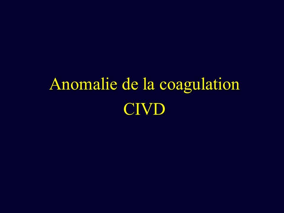 Anomalie de la coagulation CIVD