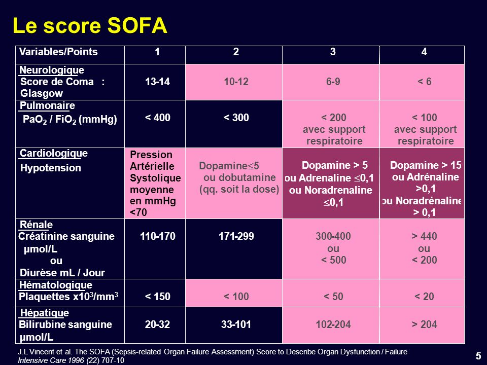 Le score SOFA Variables/Points 1 2 3 4 Neurologique Score de Coma : 13
