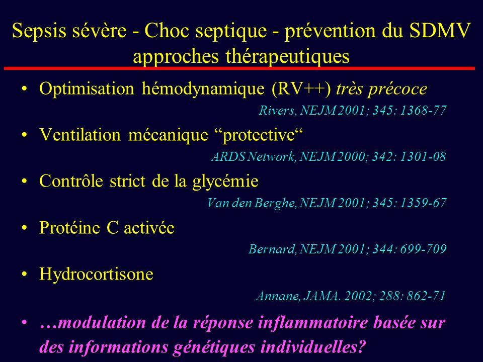 Sepsis sévère - Choc septique - prévention du SDMV approches thérapeutiques