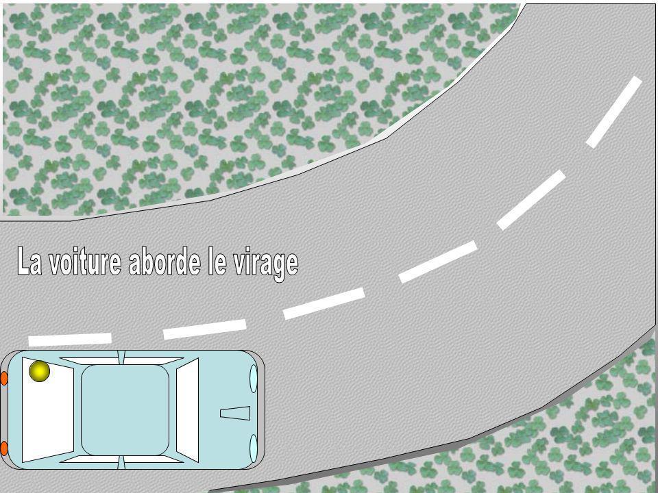La voiture aborde le virage