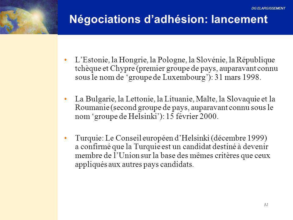 Négociations d'adhésion: lancement