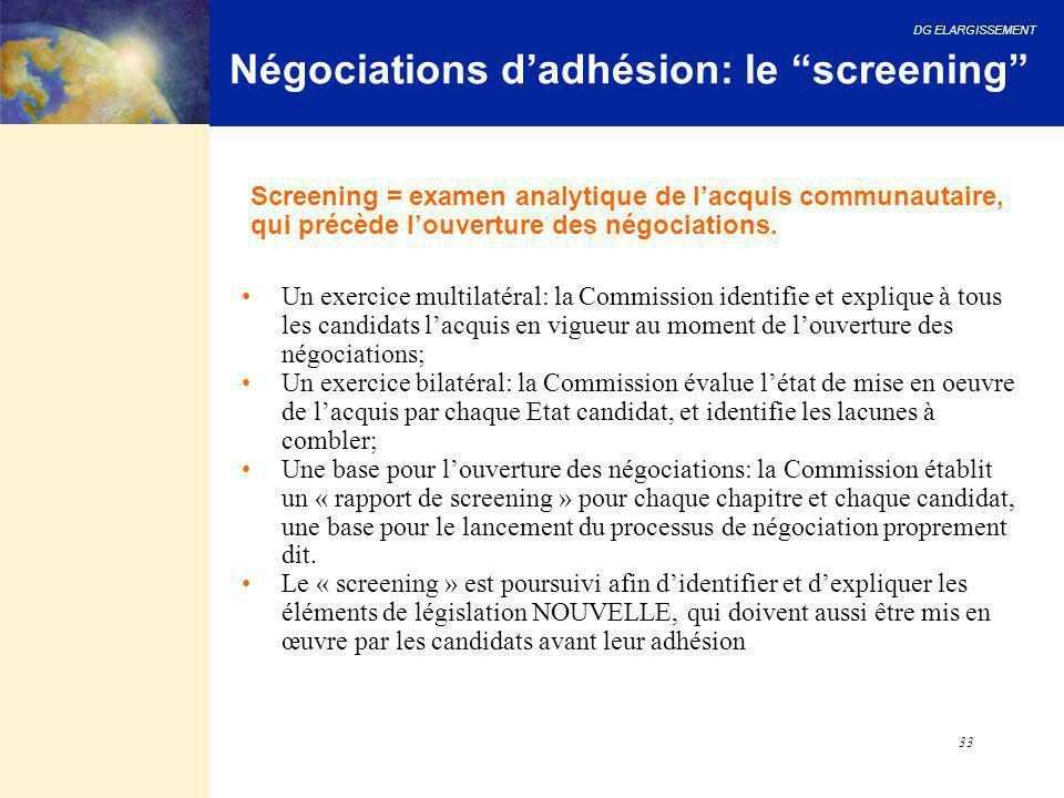 Négociations d'adhésion: le screening