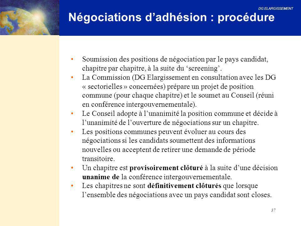 Négociations d'adhésion : procédure