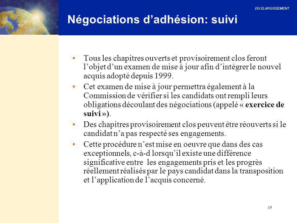 Négociations d'adhésion: suivi