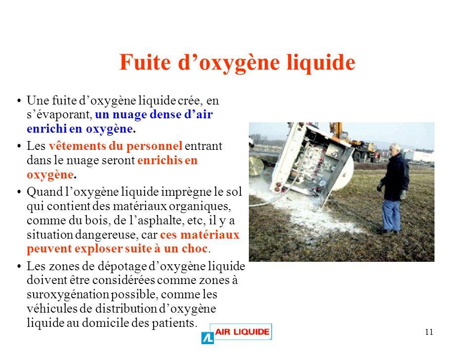 Fuite d'oxygène liquide