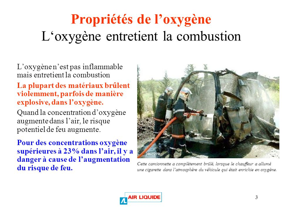 Propriétés de l'oxygène L'oxygène entretient la combustion