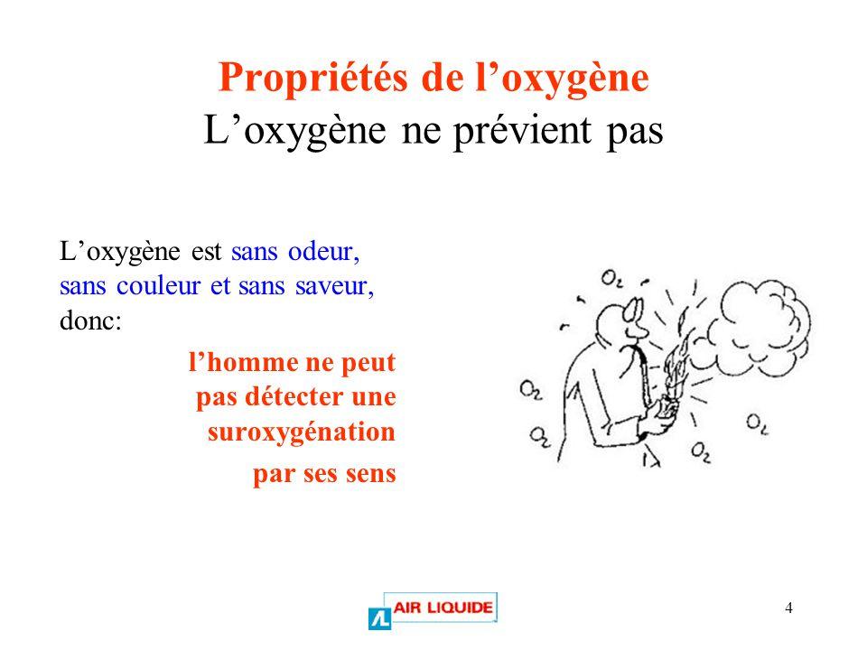 Propriétés de l'oxygène L'oxygène ne prévient pas