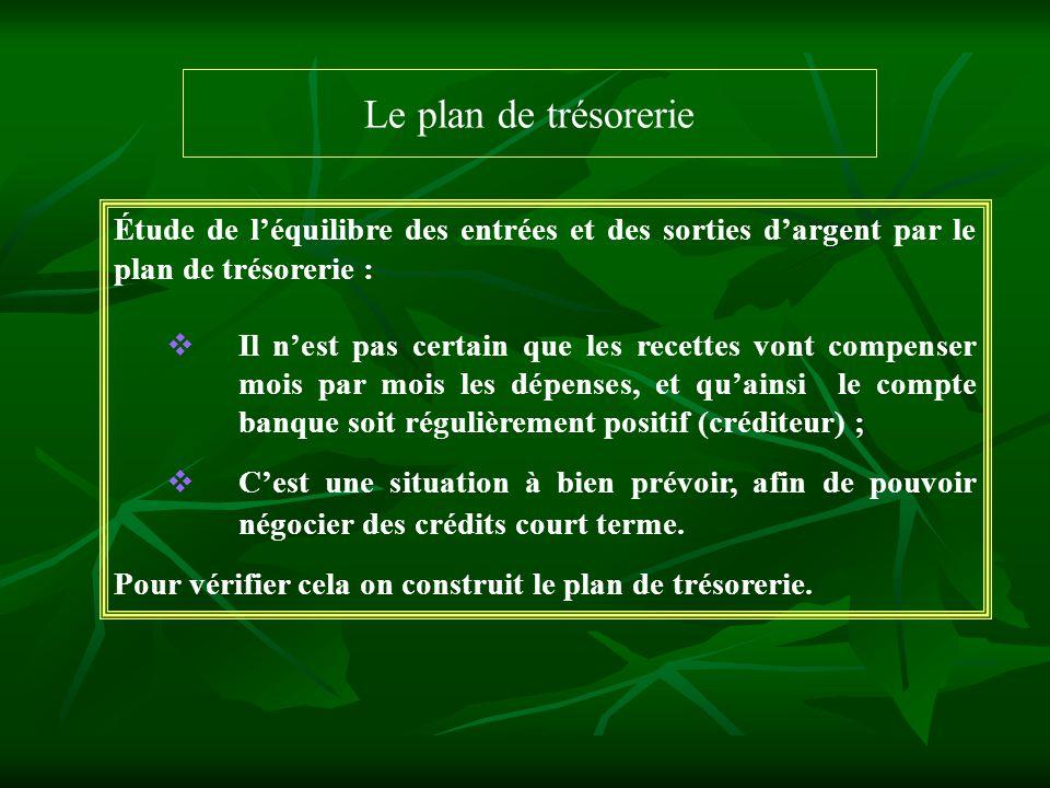 Le plan de trésorerie Étude de l'équilibre des entrées et des sorties d'argent par le plan de trésorerie :