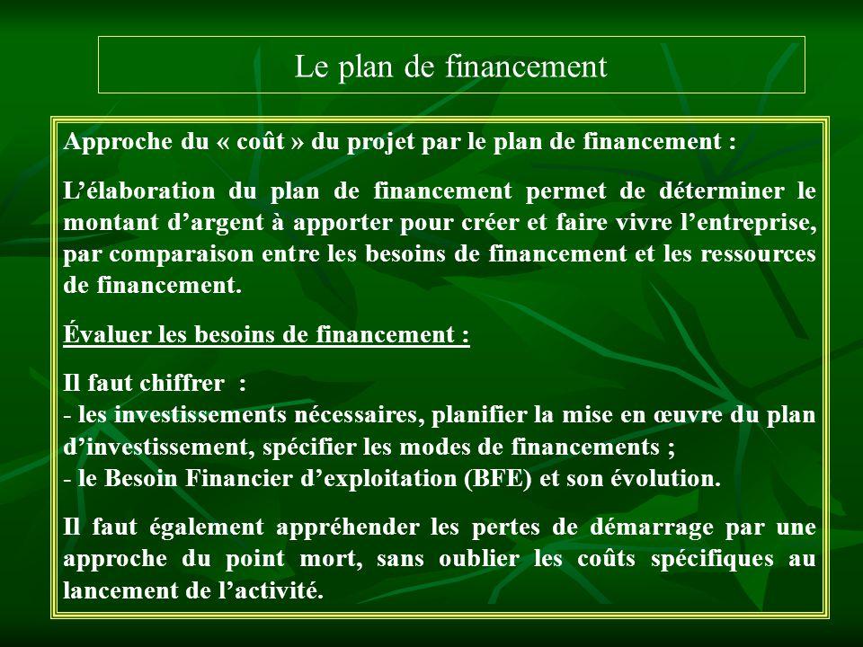 Le plan de financement Approche du « coût » du projet par le plan de financement :