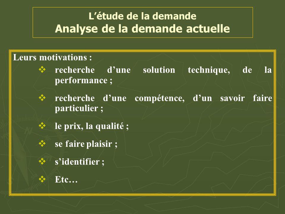 L'étude de la demande Analyse de la demande actuelle