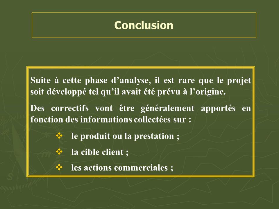 Conclusion Suite à cette phase d'analyse, il est rare que le projet soit développé tel qu'il avait été prévu à l'origine.