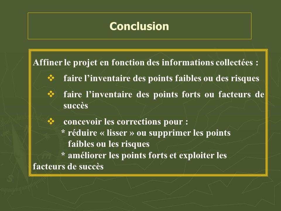 Conclusion Affiner le projet en fonction des informations collectées :
