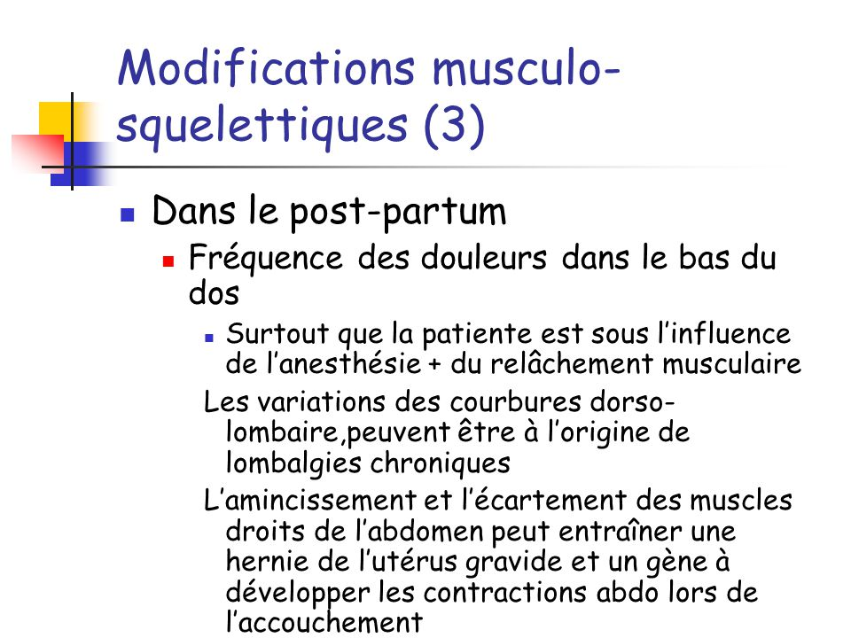 Modifications musculo-squelettiques (3)