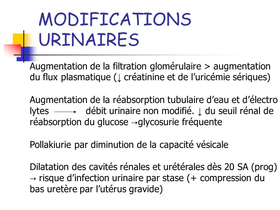 MODIFICATIONS URINAIRES