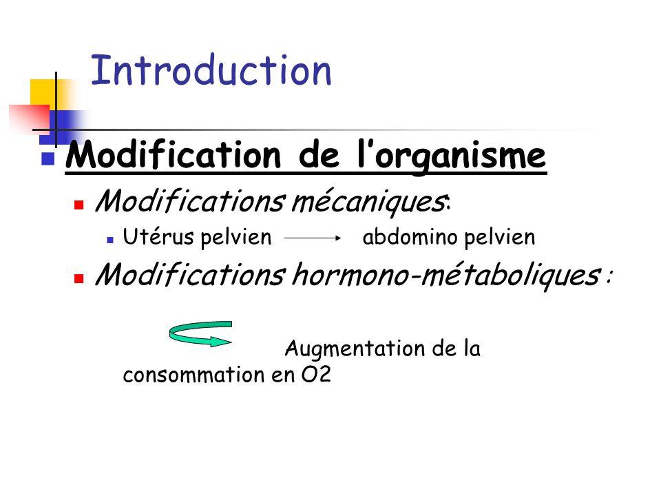 Introduction Modification de l'organisme Modifications mécaniques: