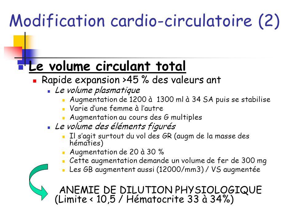 Modification cardio-circulatoire (2)