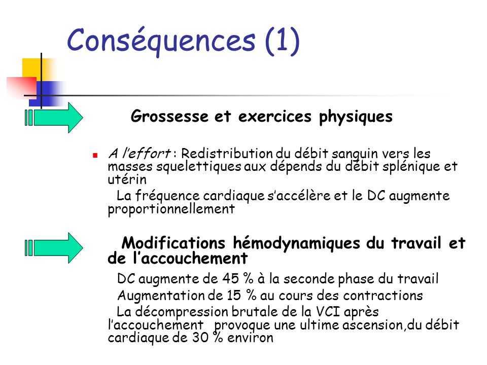 Conséquences (1) Grossesse et exercices physiques