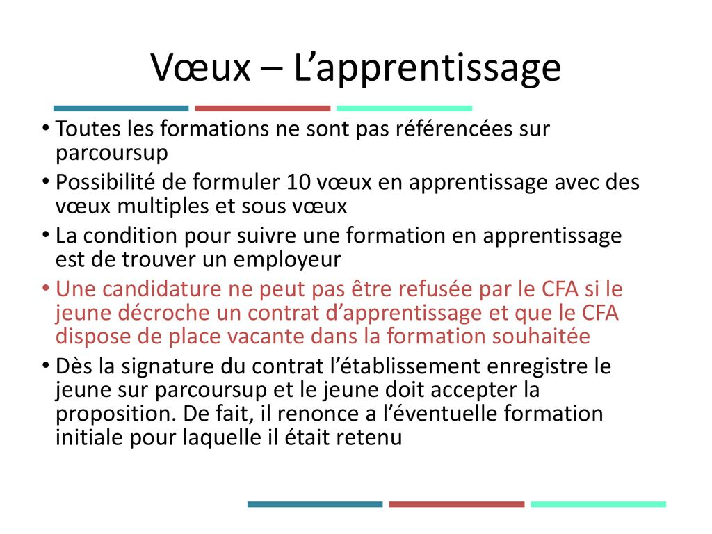 Vœux – L'apprentissage
