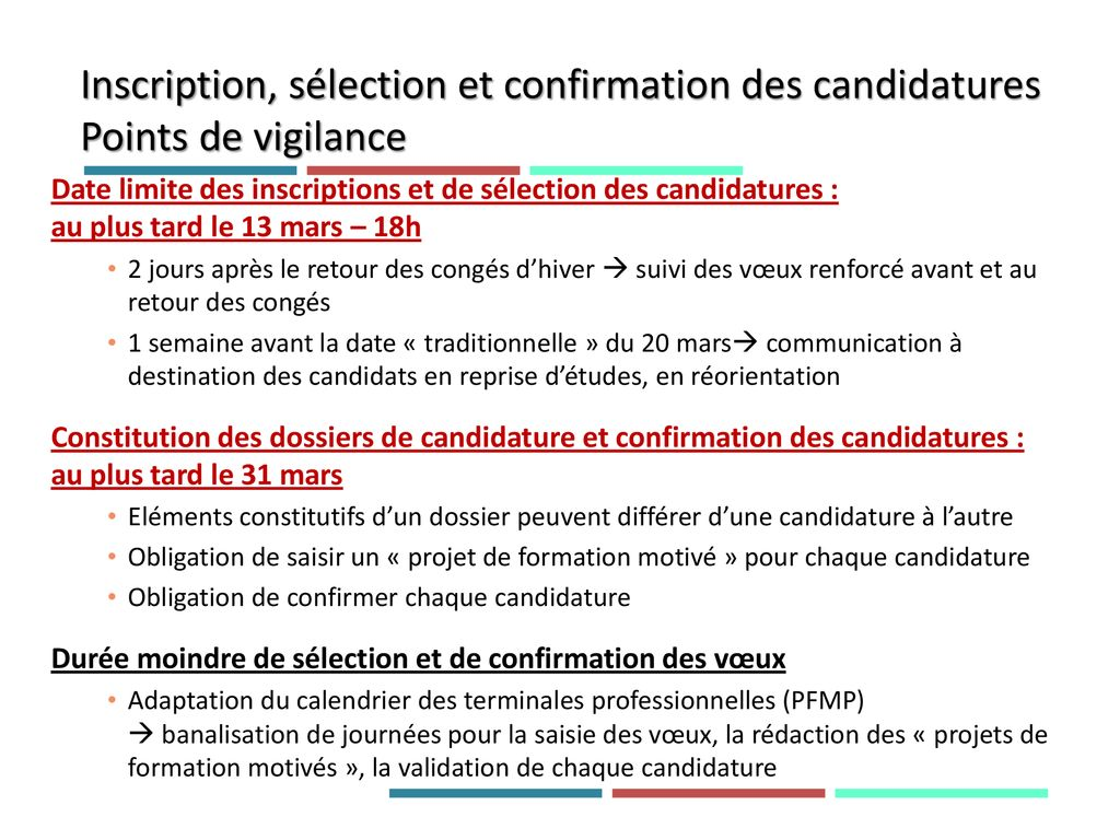 Inscription, sélection et confirmation des candidatures Points de vigilance