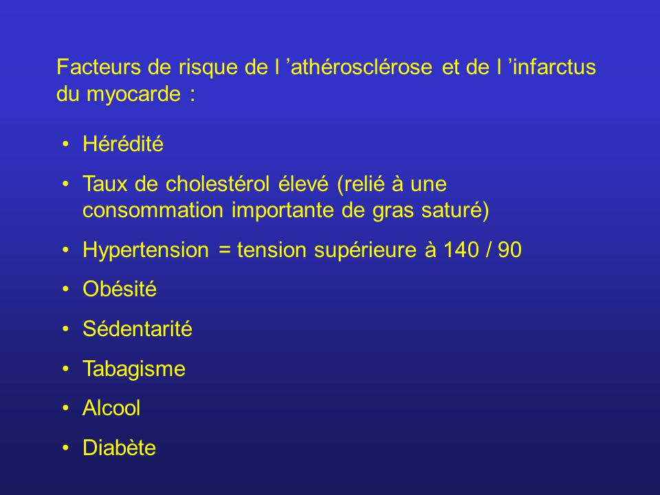 Facteurs de risque de l 'athérosclérose et de l 'infarctus du myocarde :