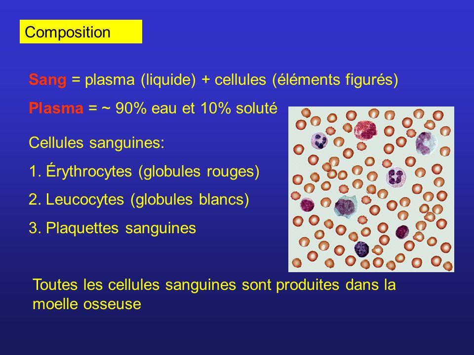 Composition Sang = plasma (liquide) + cellules (éléments figurés) Plasma = ~ 90% eau et 10% soluté.
