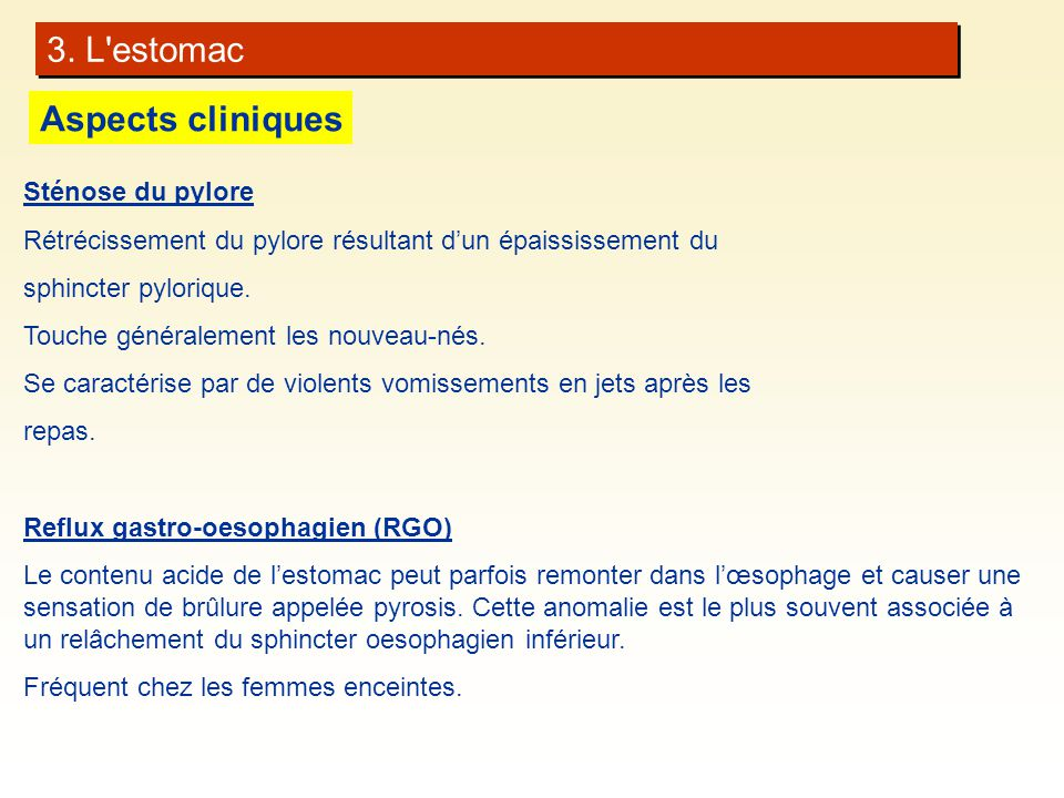 3. L estomac Aspects cliniques Sténose du pylore