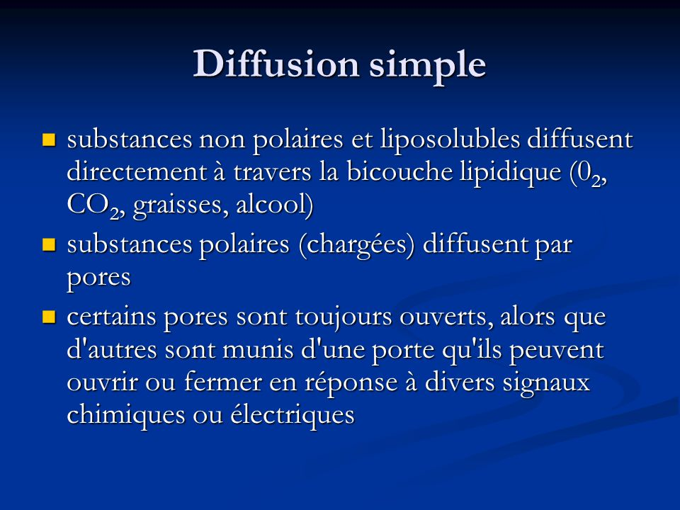 Diffusion simple substances non polaires et liposolubles diffusent directement à travers la bicouche lipidique (02, CO2, graisses, alcool)