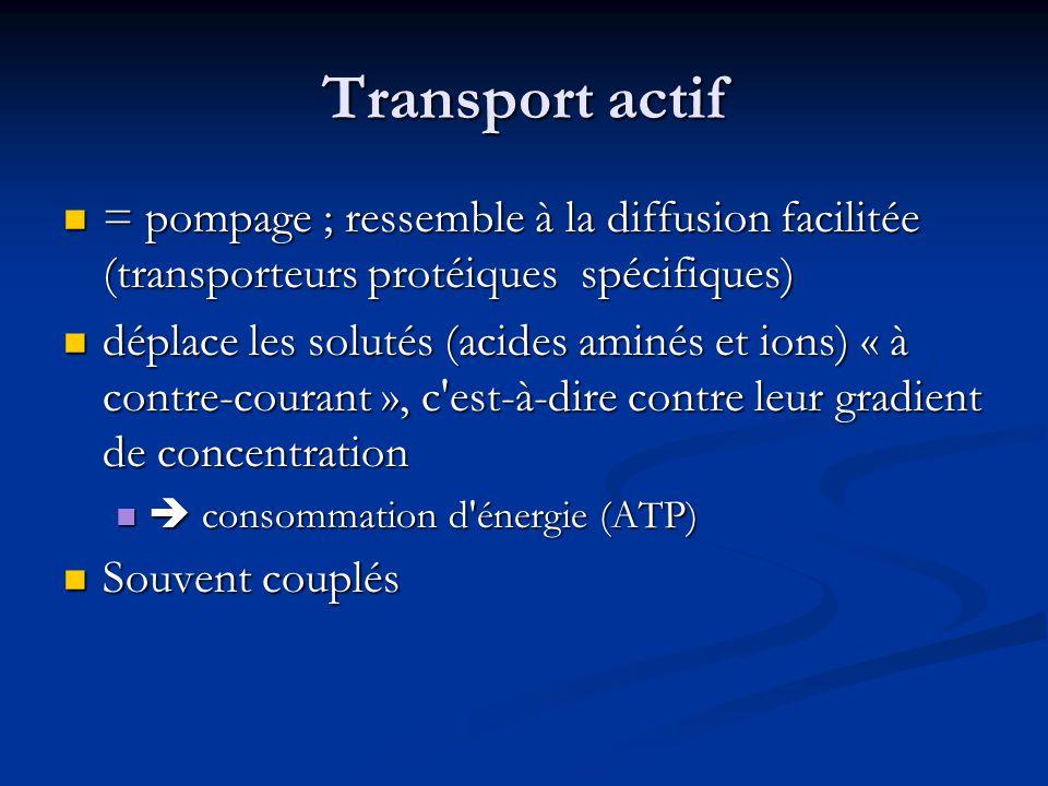 Transport actif = pompage ; ressemble à la diffusion facilitée (transporteurs protéiques spécifiques)