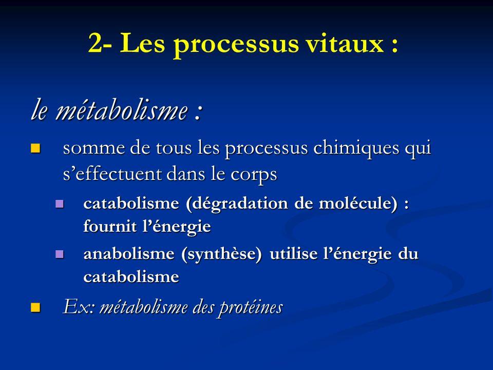 2- Les processus vitaux :
