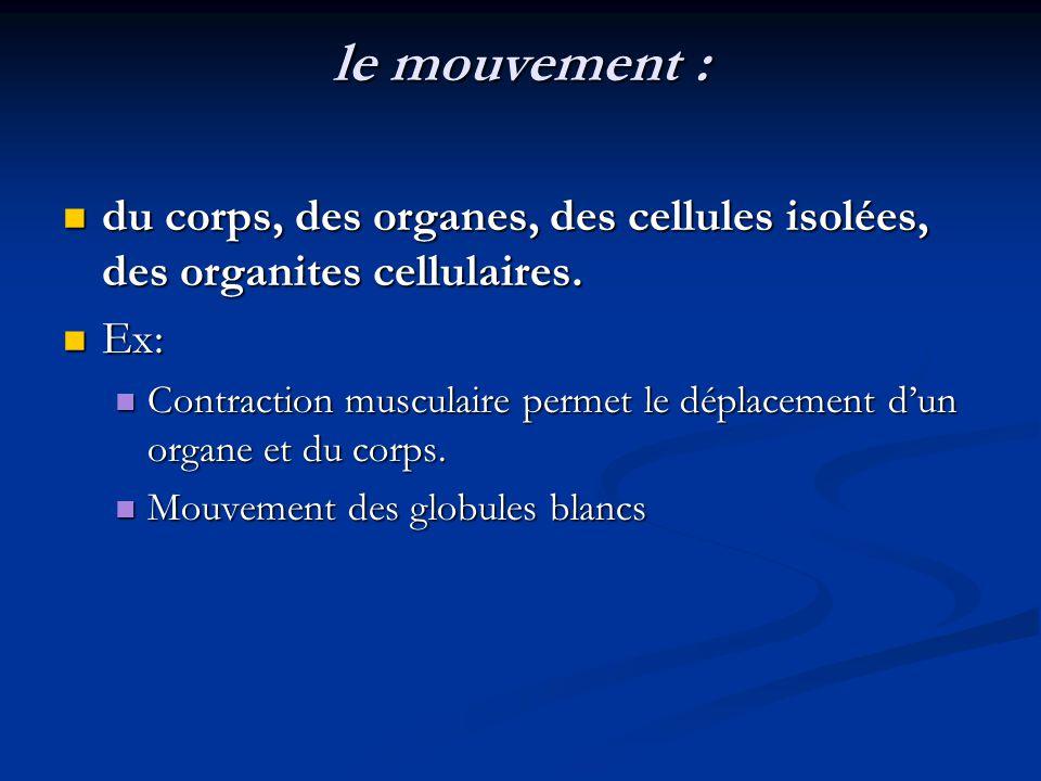 le mouvement : du corps, des organes, des cellules isolées, des organites cellulaires. Ex: