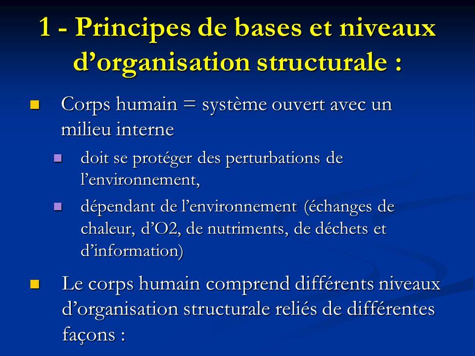 1 - Principes de bases et niveaux d'organisation structurale :
