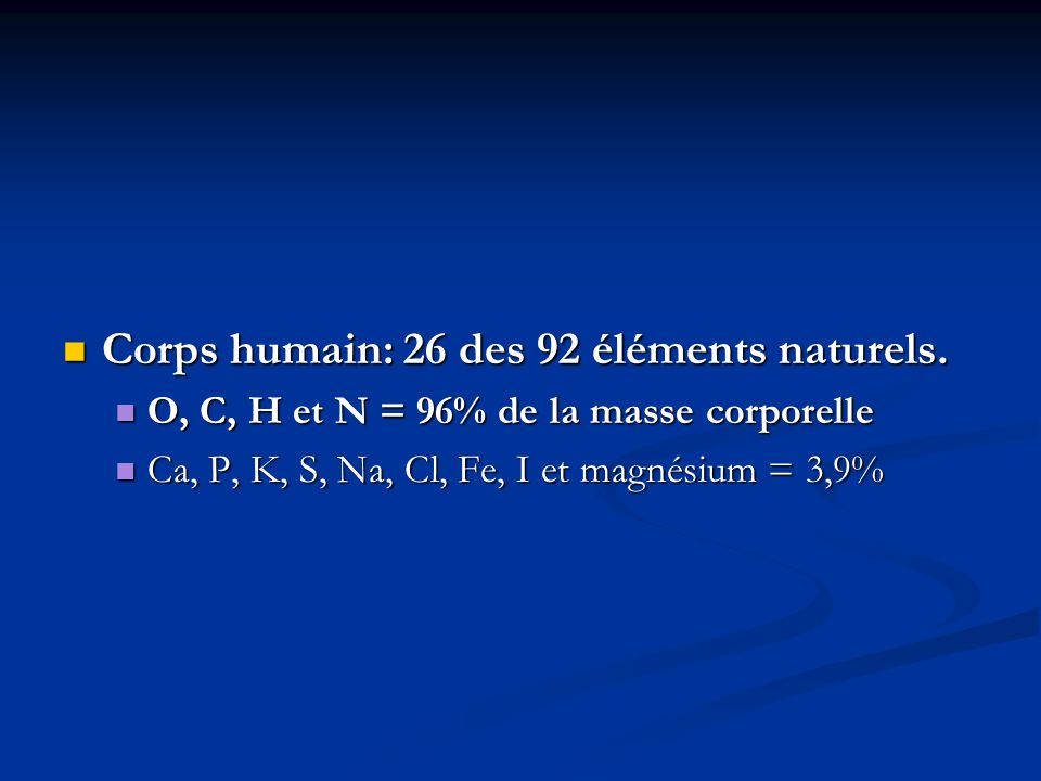Corps humain: 26 des 92 éléments naturels.