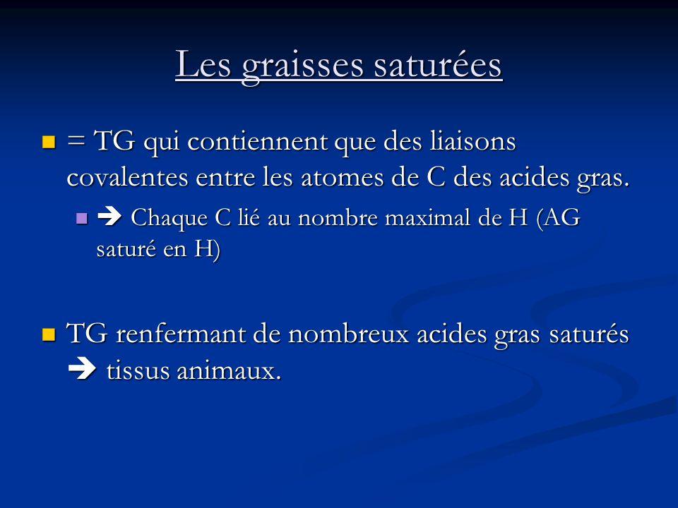 Les graisses saturées = TG qui contiennent que des liaisons covalentes entre les atomes de C des acides gras.