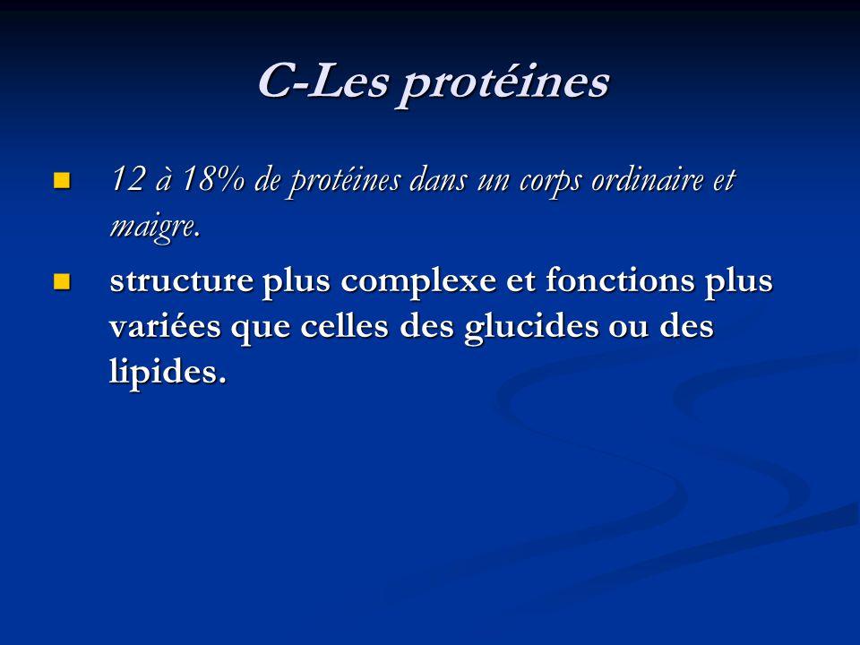 C-Les protéines 12 à 18% de protéines dans un corps ordinaire et maigre.