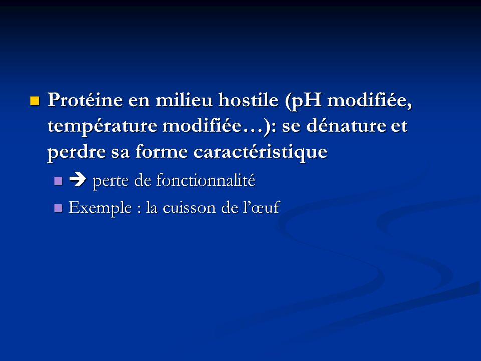 Protéine en milieu hostile (pH modifiée, température modifiée…): se dénature et perdre sa forme caractéristique
